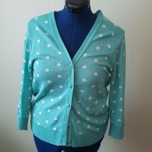 Aqua polka dot 3/4 length sleeve cardigan